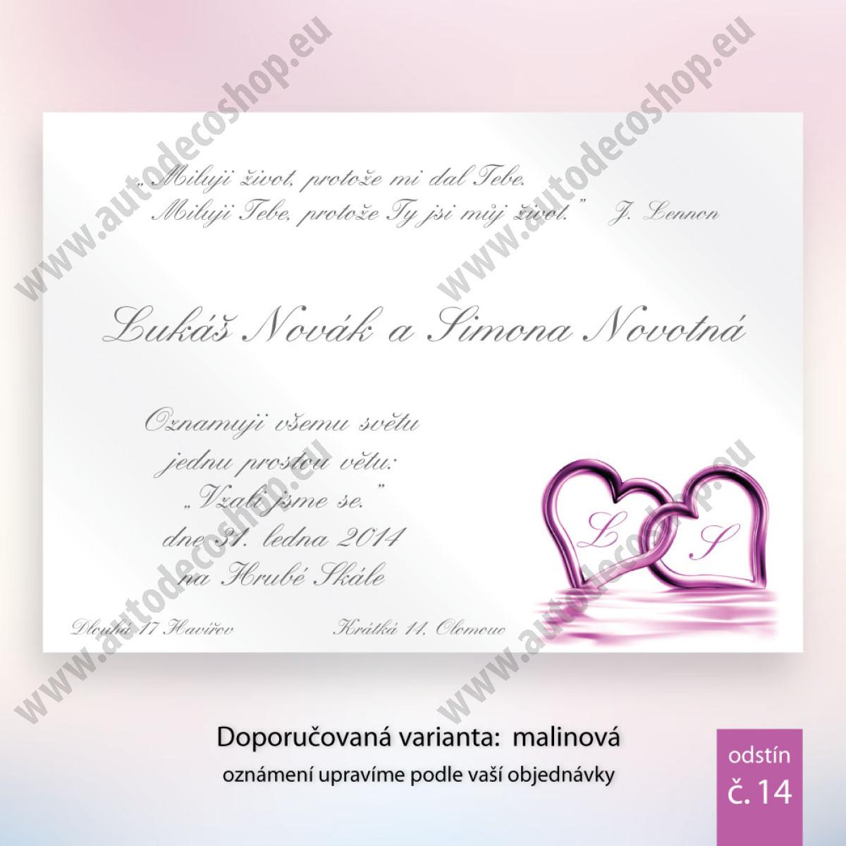 Svatební oznámení Srdce 83acfd3f66